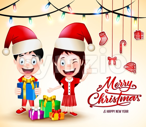 Christmas Vector with Happy Kids Wearing Santa Hat Stock Vector