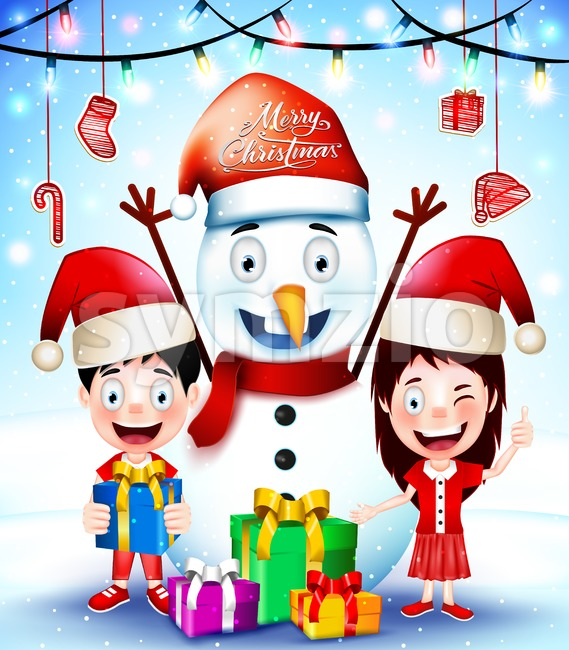 Christmas Greetings with Happy Kids and Snowman Stock Vector