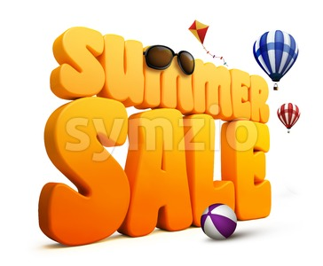 3D Summer Sale Title Word in White Stock Photo