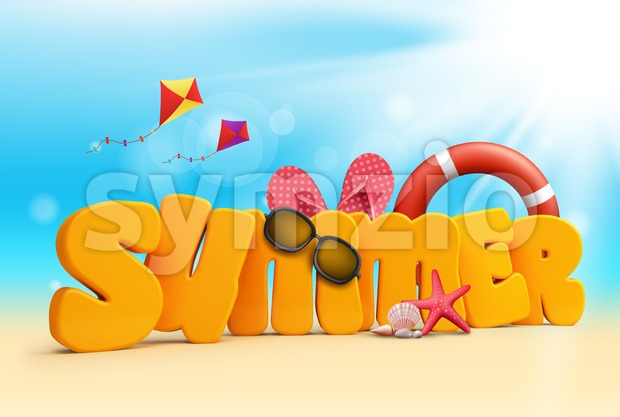 Summer 3D Text Design Stock Photo