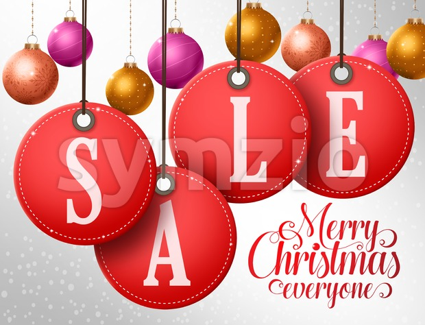 Christmas Sale Vector Design in Hanging Red Sale Tags Stock Vector