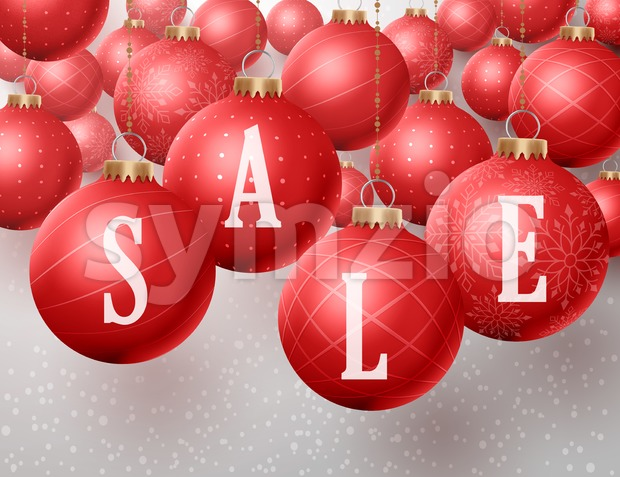 Christmas sale text in christmas red balls hanging in a winter snow background for discounts and promotions. Vector illustration. This vector ...