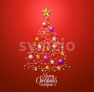 Christmas Tree Design for Greetings Card in Red Vector Stock Vector