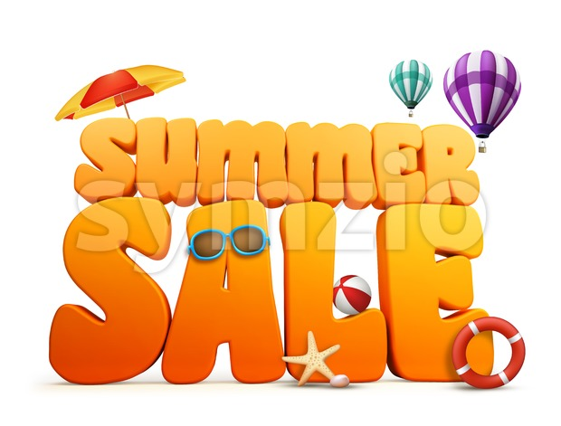 3D Rendered Summer Sale Title Stock Photo