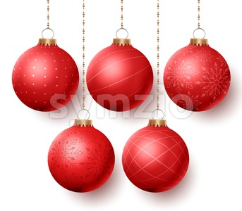 Christmas Balls Vector Set with Designs Isolated Stock Vector