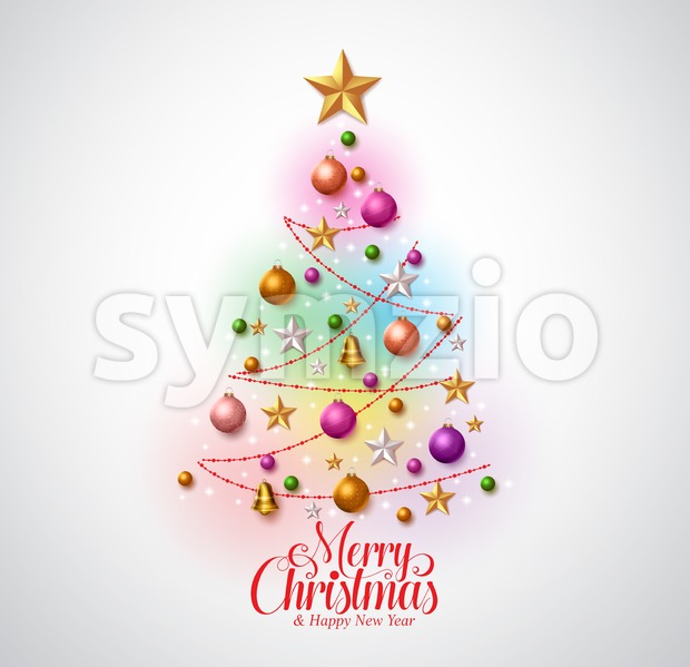 Christmas tree vector design greetings card with colorful christmas objects and typography with star in white background. Vector illustration. This vector ...