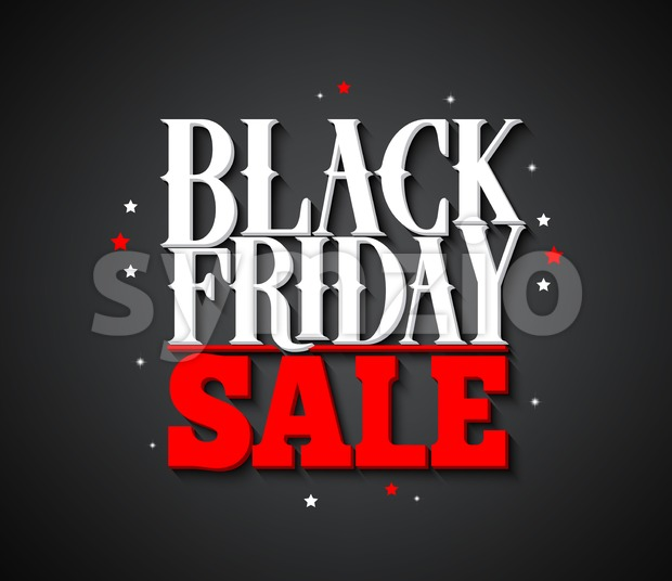 Black Friday sale vector banner design with white text and stars in black background for shopping promotion. Vector illustration. This vector ...