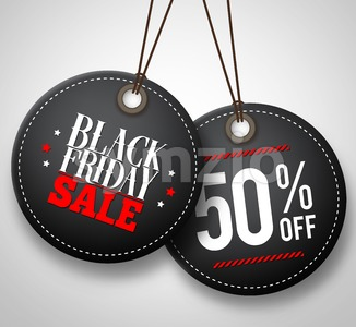 Black Friday Sale Vector Price Tags Hanging Stock Vector