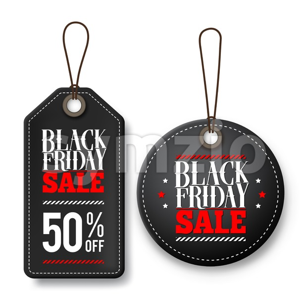 Black friday sale vector price tags for discount promotions with designs isolated in white background. Vector illustration. This vector character was ...