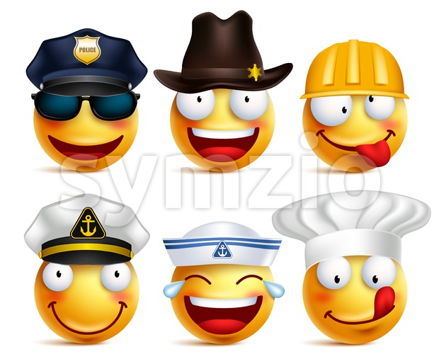 Vector Set of Smiley Face Professions with Hats Stock Vector