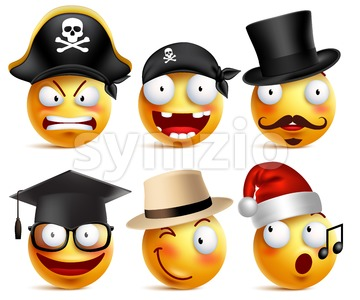 Funny Smiley Face Vector Set of Toothless Pirate Stock Vector