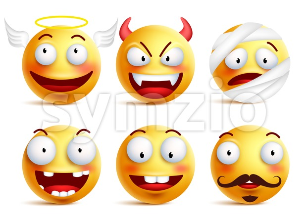 Set of Vector Smileys with Funny Faces Like Angel Stock Vector