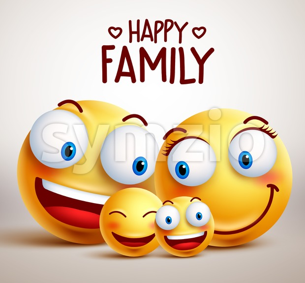 Happy Family Smiley Face Vector Characters Stock Vector