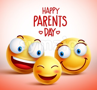 Smileys Family Vector Characters with Happy Faces Stock Vector