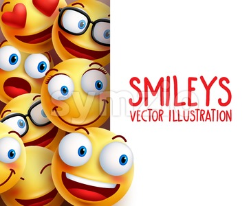 Funny Smiley Face Vector Characters Background Stock Vector