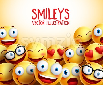 Vector Smileys Background with Funny Expressions Stock Vector