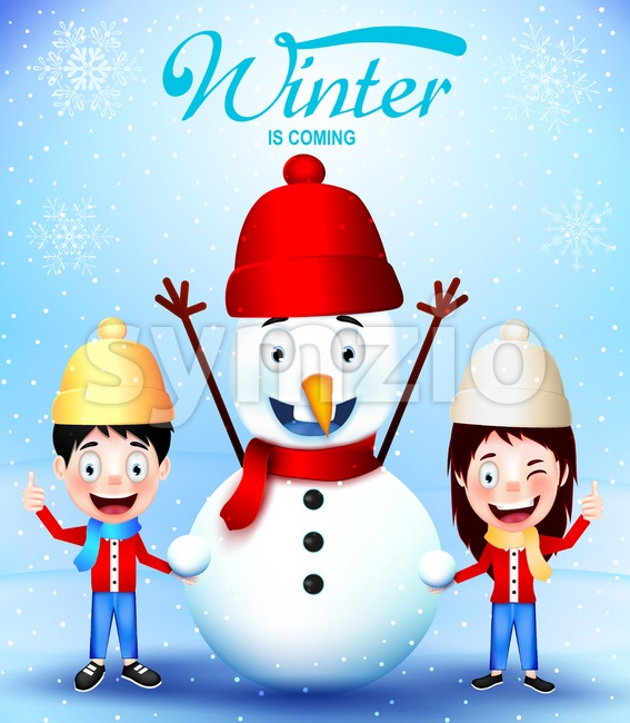 Winter Is Coming with Kids Vector Characters and Snowman Greeting Card Vector illustration. This Winter design is rich in details ...