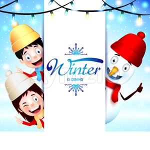 Winter Is Coming Greeting With Happy Kids Stock Vector