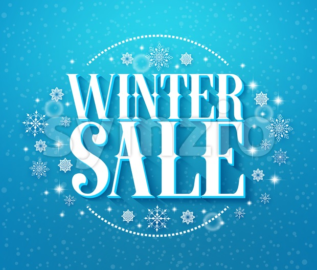 Winter Sale 3D Text Vector iIlustration with Snowflakes Stock Vector