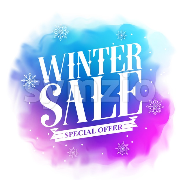 Winter sale special offer text vector design for holiday promotion in colorful watercolor style background. Vector illustration.This vector designwas designed ...