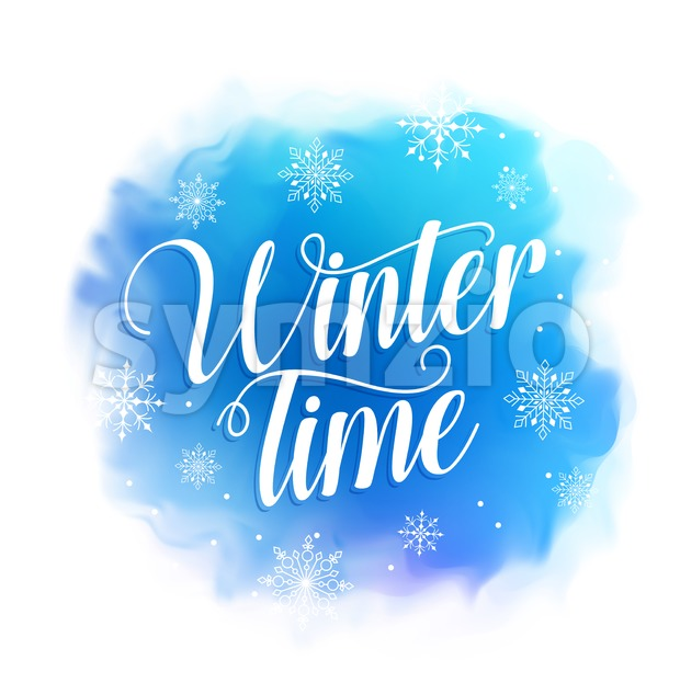Winter time text vector design for greetings card in blue watercolor style background with snowflakes. Vector illustration. This vector design was designed ...