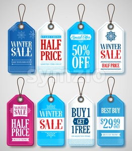 Winter Sale Tags Set for Season Store Promotions Stock Vector
