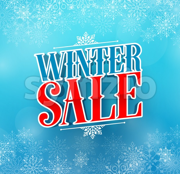 Winter sale title vector design in 3D text for holiday promotion in blue color winter snow background. Vector illustration. This winter ...