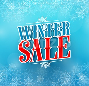 Winter Sale Title Vector Design in Blue Color Stock Vector