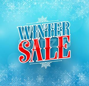 Winter Sale Title Vector Design in Blue Color Stock Vector