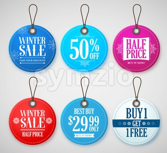 Winter Sale Vector Tags Set for Season with in Circle Stock Vector