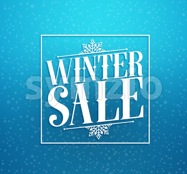 Winter Sale Title Vector Design in Blue Background Stock Vector