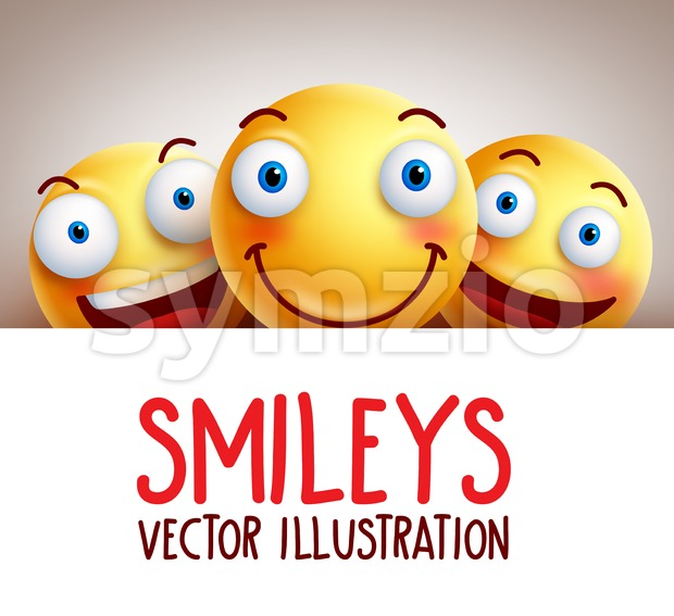 Funny Happy Smileys Vector Background with Smile Stock Vector