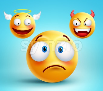 Smiley Vector Character Thinking in Good and Bad Stock Vector