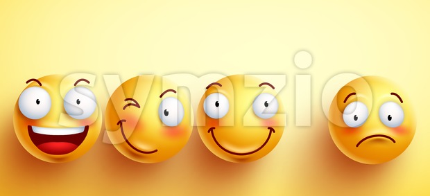 Funny smileys vector faces with happy smile with separated one unhappy and sad in yellow background. Vector illustration.This vector smiley ...