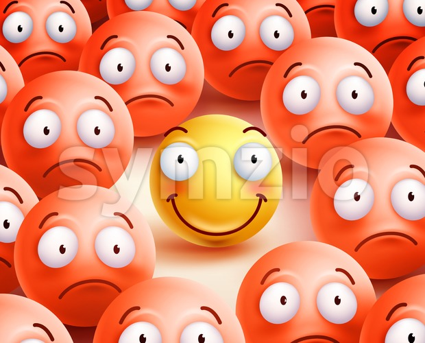 Smiley Vector Character the Only Smile Face in Crowd Stock Vector