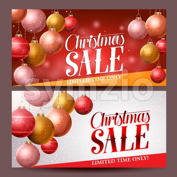 Christmas sale banners vector design with christmas balls elements hanging in red background for holiday discount promotions. Vector illustration. This vector ...