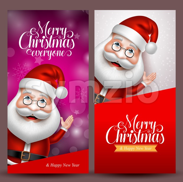 Christmas Background Vector Banners with Santa Claus Stock Vector