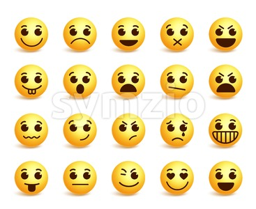 Smiley Face Vector Icons Set with Funny Expressions Stock Vector