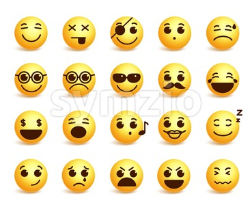 Smiley Faces Vector Emoticons Set with Expressions Stock Vector