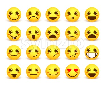 Smileys Face Cute Vector Emoticon Set with Expressions Stock Vector