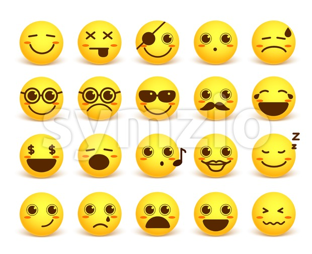 Smiley Face Cute Vector Emoticon Set in Yellow Color Stock Vector