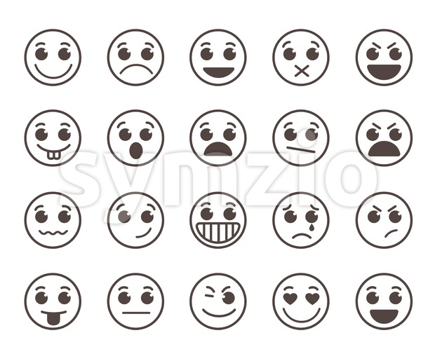 Smiley face flat line vector icons set with funny facial expressions in black circle isolated in white background. Vector illustration. ...