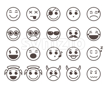 Smileys Faces Flat Line Vector Icons Set in Black Color Stock Vector
