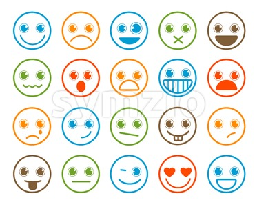 Smiley Emoticons Vector Icon Set in Flat Line Circle Stock Vector