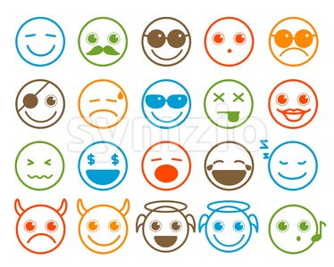 Smileys Emoticon Vector Icons Set in Flat Line Circle Stock Vector