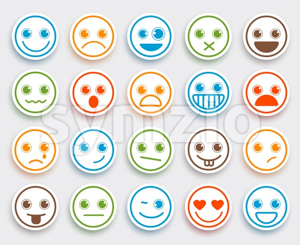 Smiley Face Vector Emoticon Set White Flat Icon Sticker Stock Vector