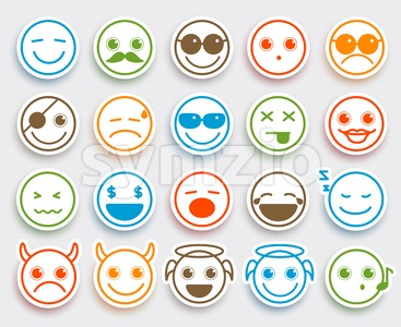Smileys Face Vector Emoticons Flat Icon Sticker Stock Vector