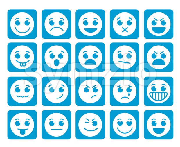 Smiley Face Vector Icons in Square Flat Blue Buttons Stock Vector
