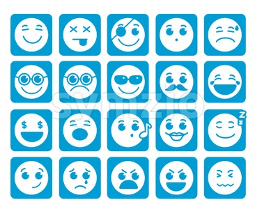 Vector Icons in Square Flat Blue Buttons Emotions Stock Vector