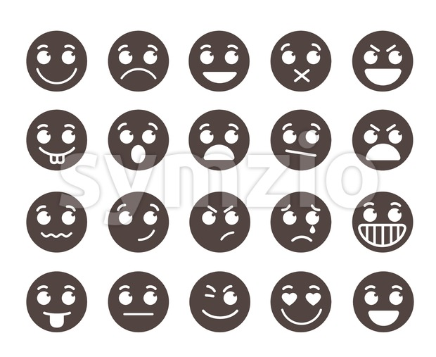 Smiley flat vector emoticons with emotions and funny facial expressions in black color isolated in white background. Vector illustration. This ...